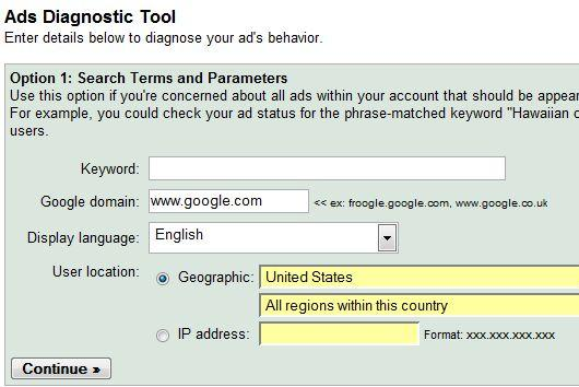 google adwords diagnostic tool